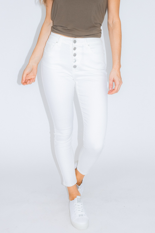 WHITE BUTTON UP SKINNY JEAN