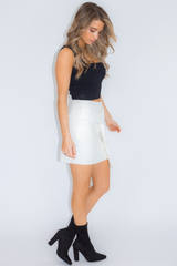 LEATHER TWIST SKIRT IN IVORY