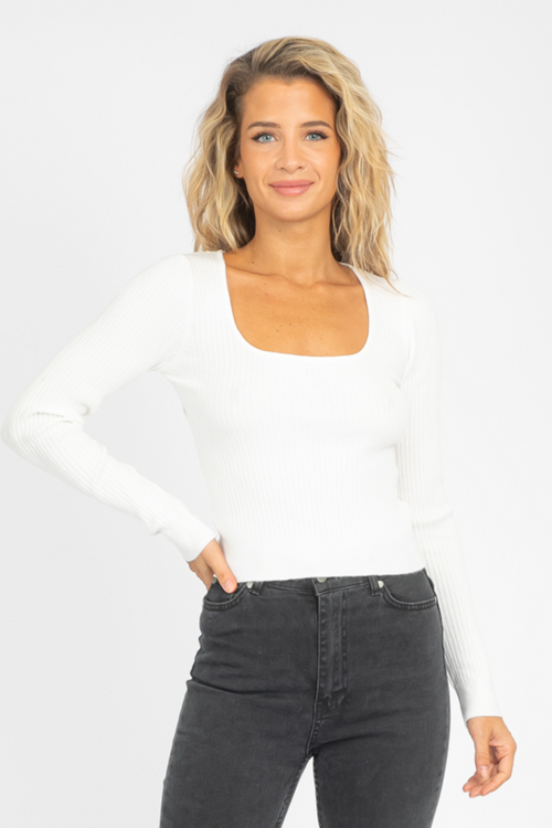 KNIT SQUARE NECK CROP IN WHITE