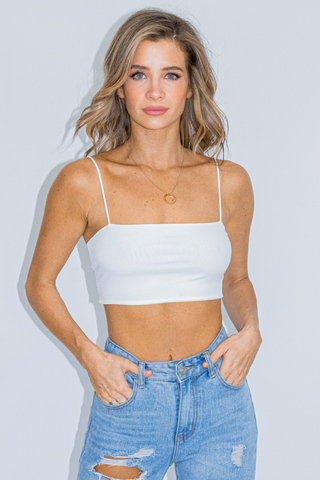 KHAKI RIBBED CAMI CROP
