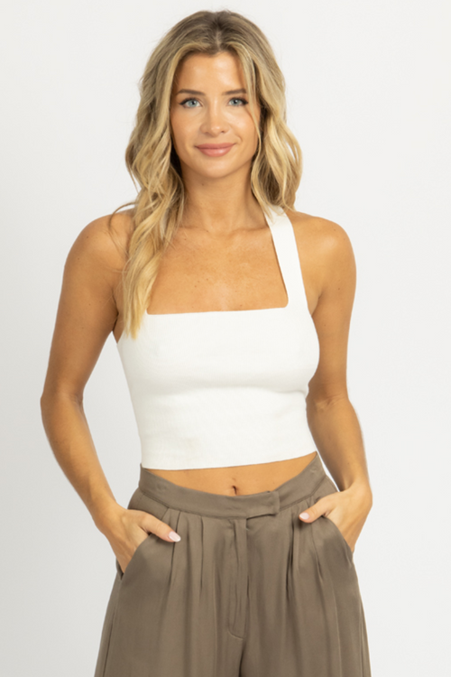 WHITE TIE BACK KNIT CAMI