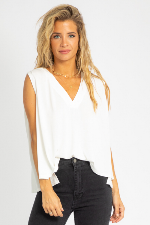 SHIRRING V-NECK RELAXED TANK