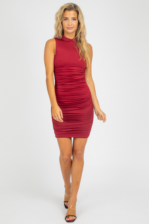 WINE RUCHED MOCK NECK MINI