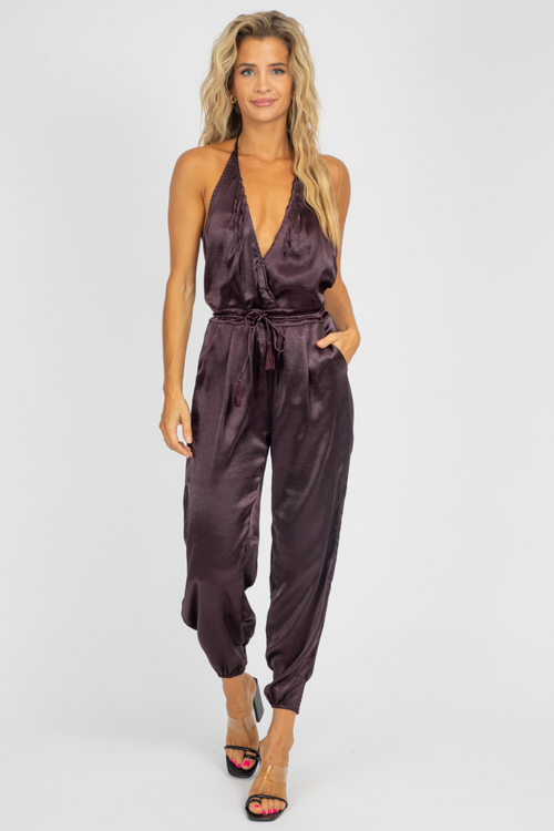 WINE SATIN HALTER JUMPSUIT