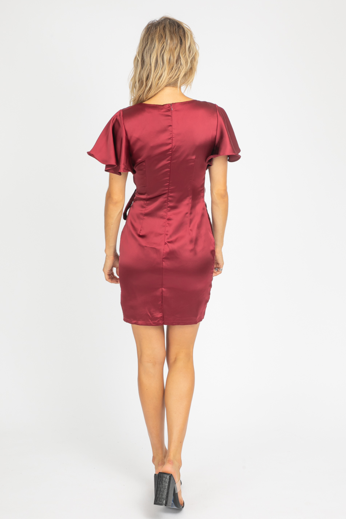 WINE SATIN WRAP MINI DRESS