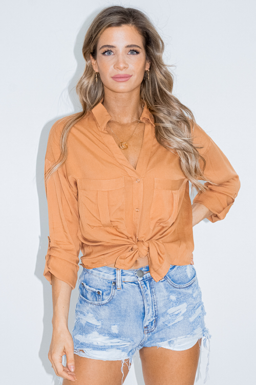 WOVEN BUTTON DOWN TOP IN GINGER