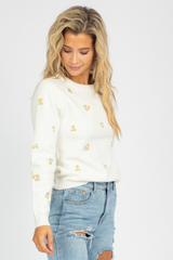 YELLOW FLORAL EMBROIDERED SWEATER