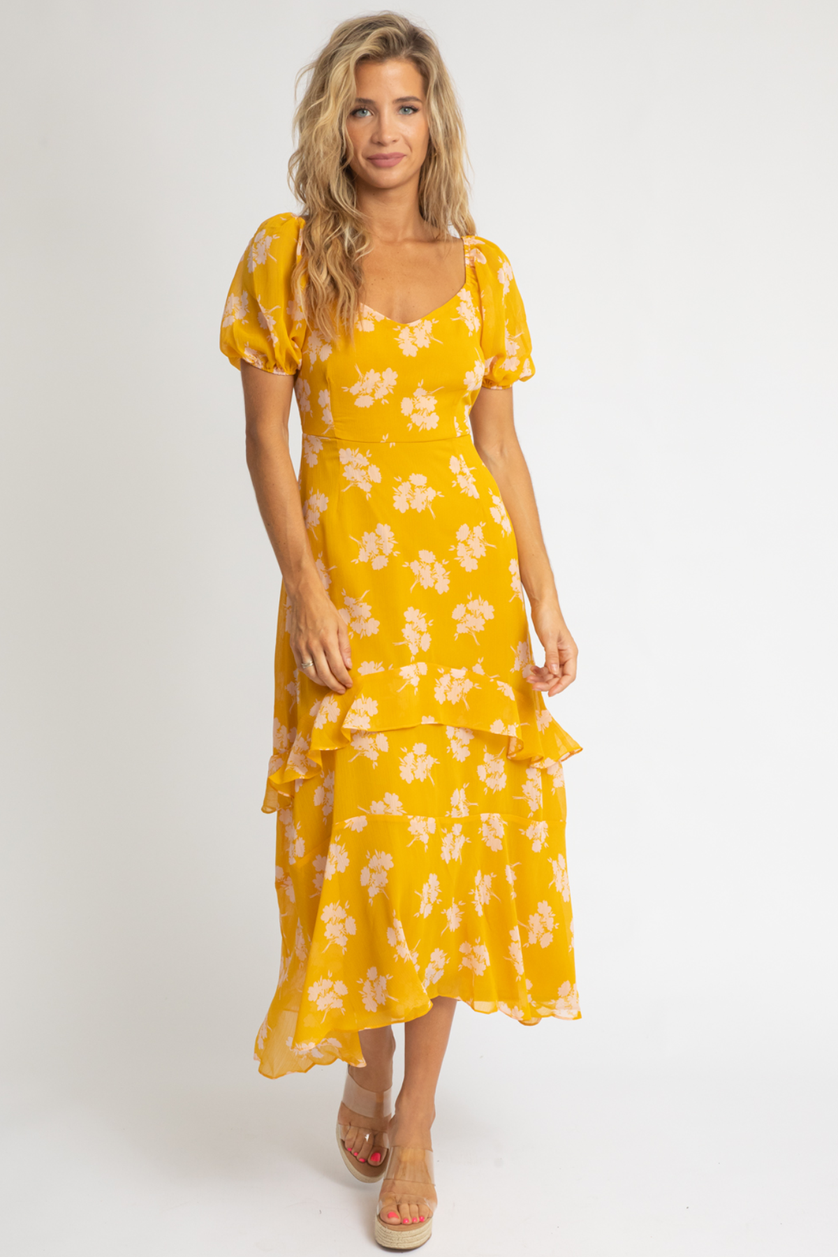 YELLOW FLORAL WOVEN DRESS