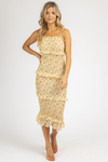 YELLOW FLORAL SMOCKED STRAIGHT-NECK MIDI