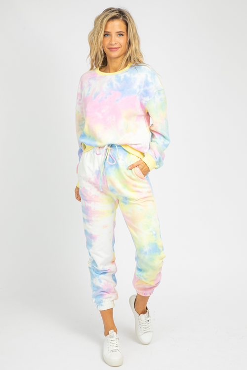 YELLOW PASTEL TIE DYE SET