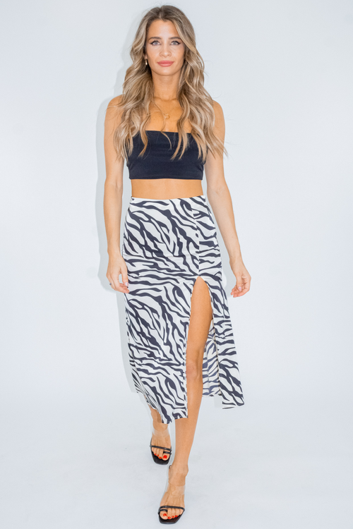 Zebra Satin Slit Midi Skirt