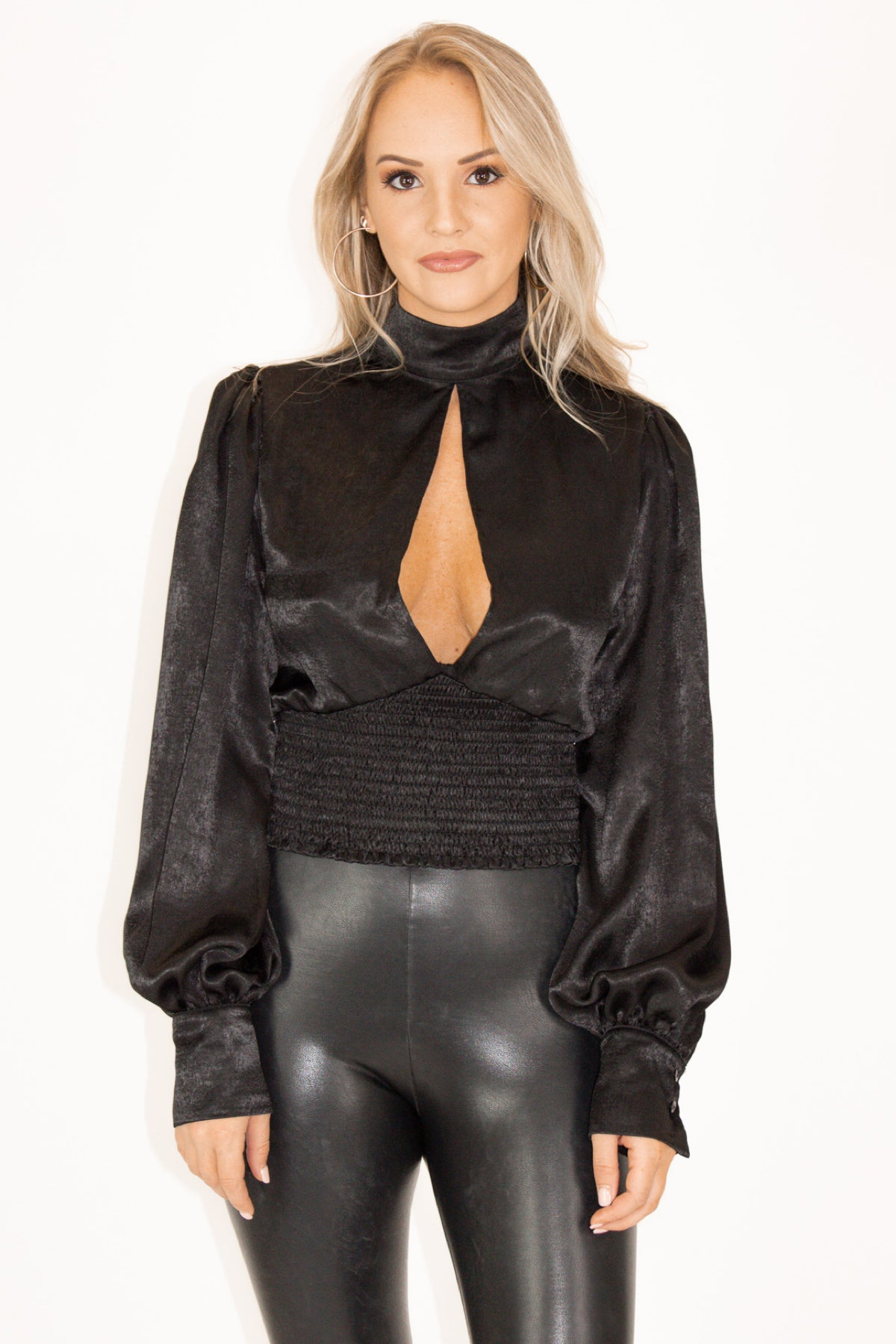 Satin Open Front Top in Black