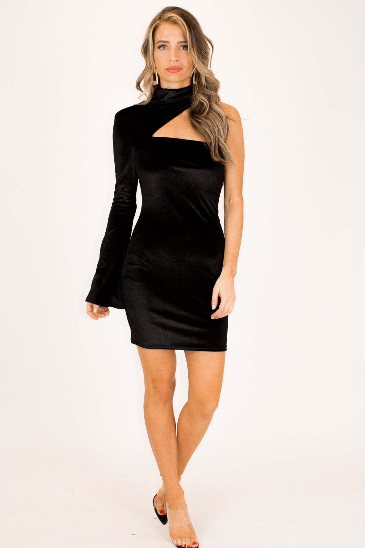 VELVET CUTOUT MINI DRESS