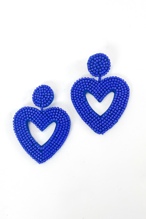 BLUE BEADED HEART EARRINGS