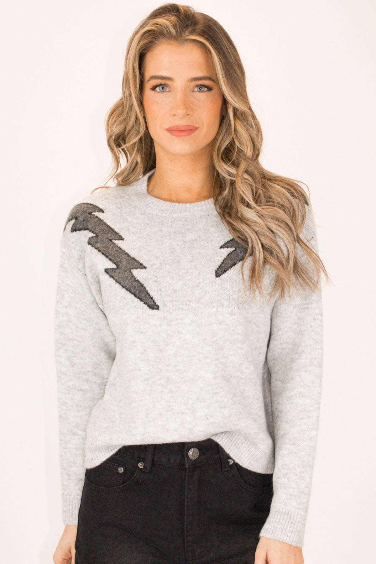 LIGHTNING BOLT SHOULDER SWEATER