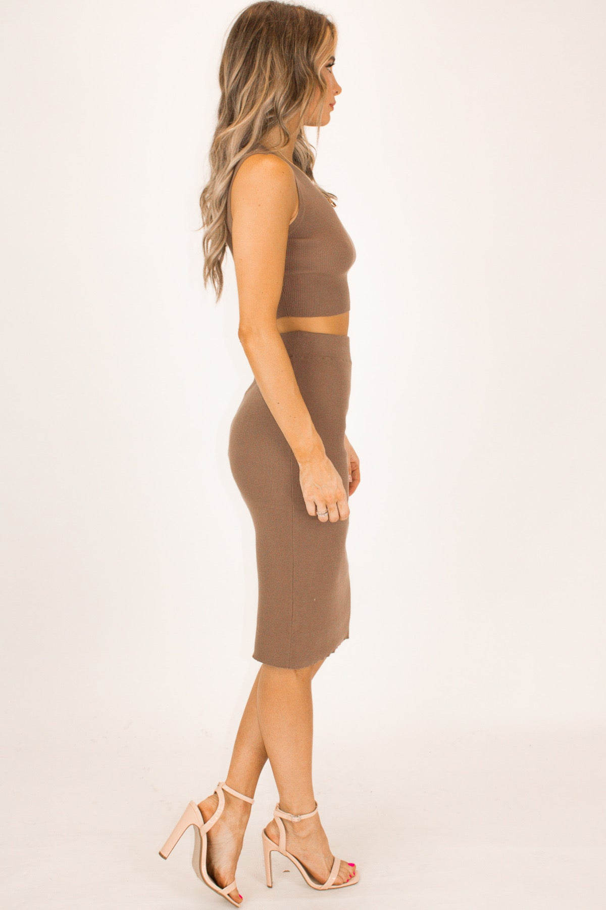 TAUPE RIBBED MIDI SKIRT