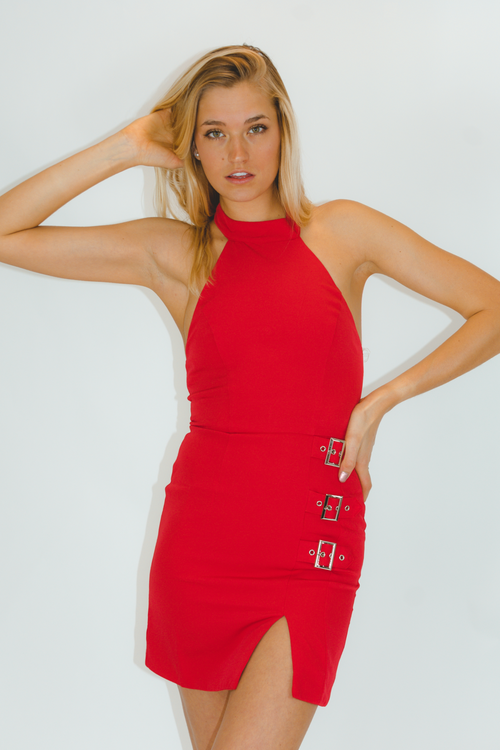 BUCKLE HALTER DRESS IN RED