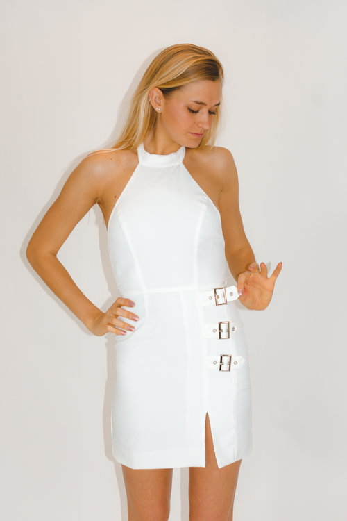 BUCKLE HALTER DRESS IN WHITE / FINAL CLEARANCE