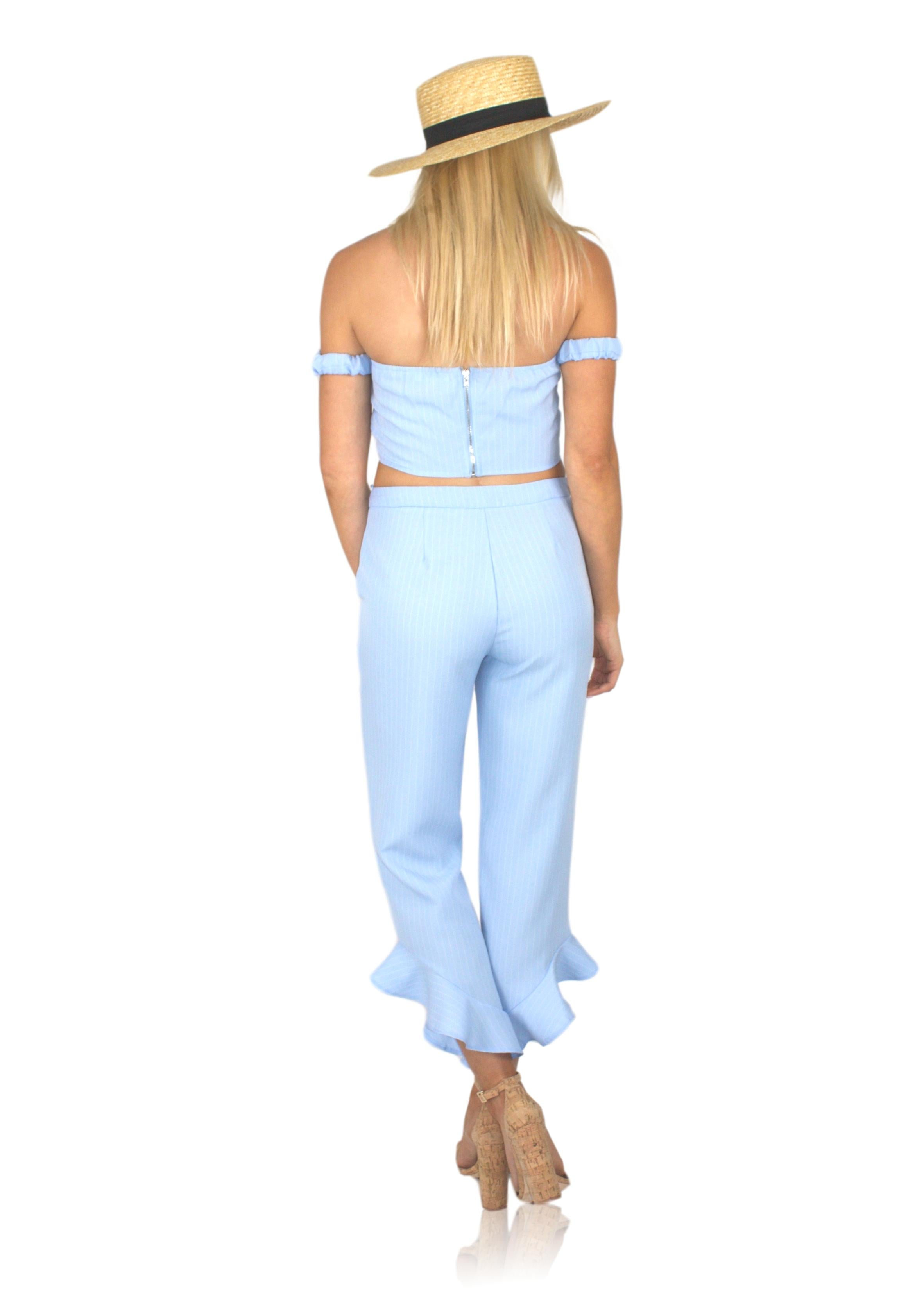 CHEAP FRILLS CROP TOP IN BLUE