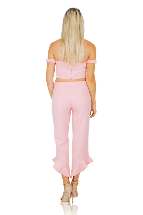 CHEAP FRILLS CROP TOP IN PINK