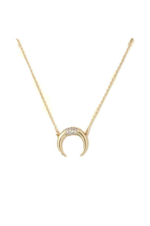 RHINESTONE DETAIL HORN NECKLACE