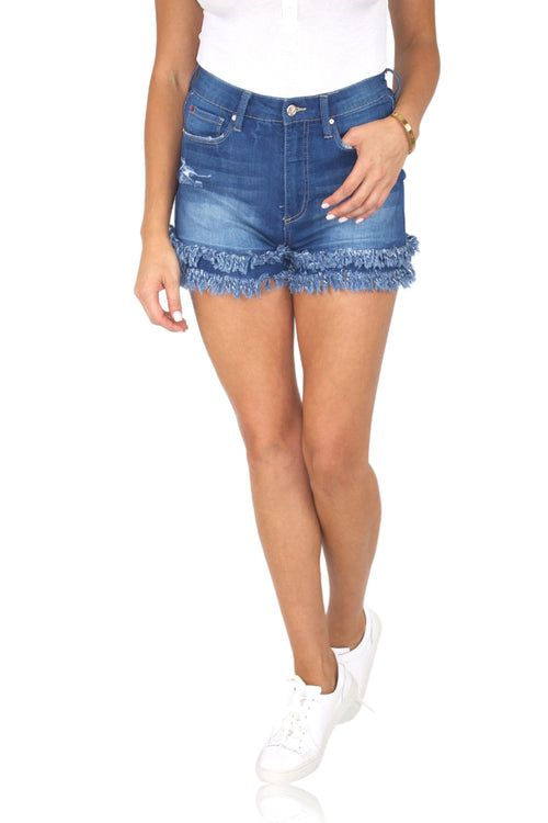 DOUBLE LAYER JEAN SHORTS