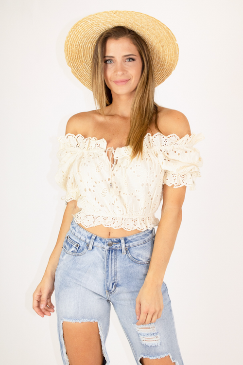 NUDE EYELET CROP TOP