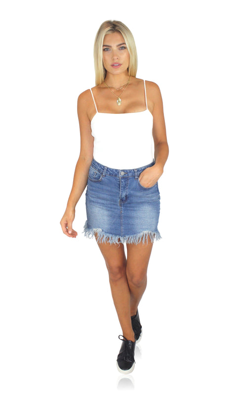 FRAY DAY DENIM SKIRT