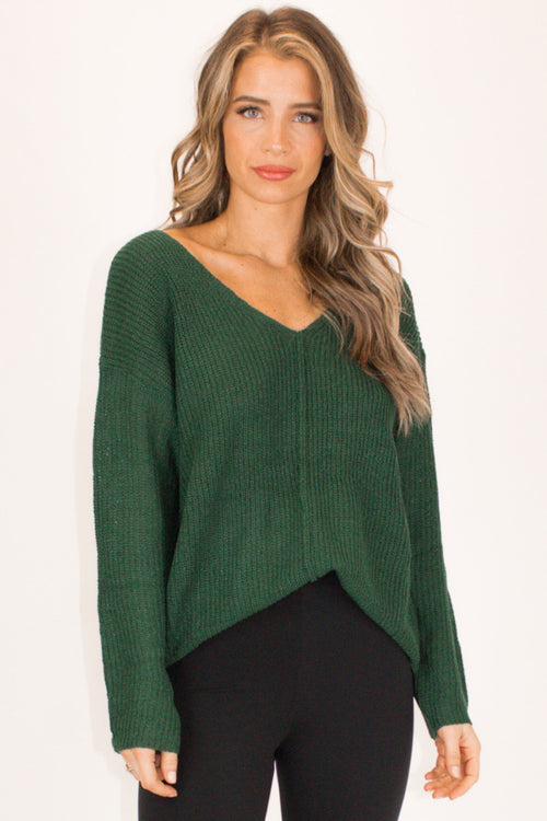 OUTSEAM KNIT TOP IN HUNTER GREEN