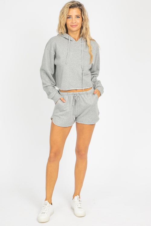 GREY RAW CUT HOODIE SET