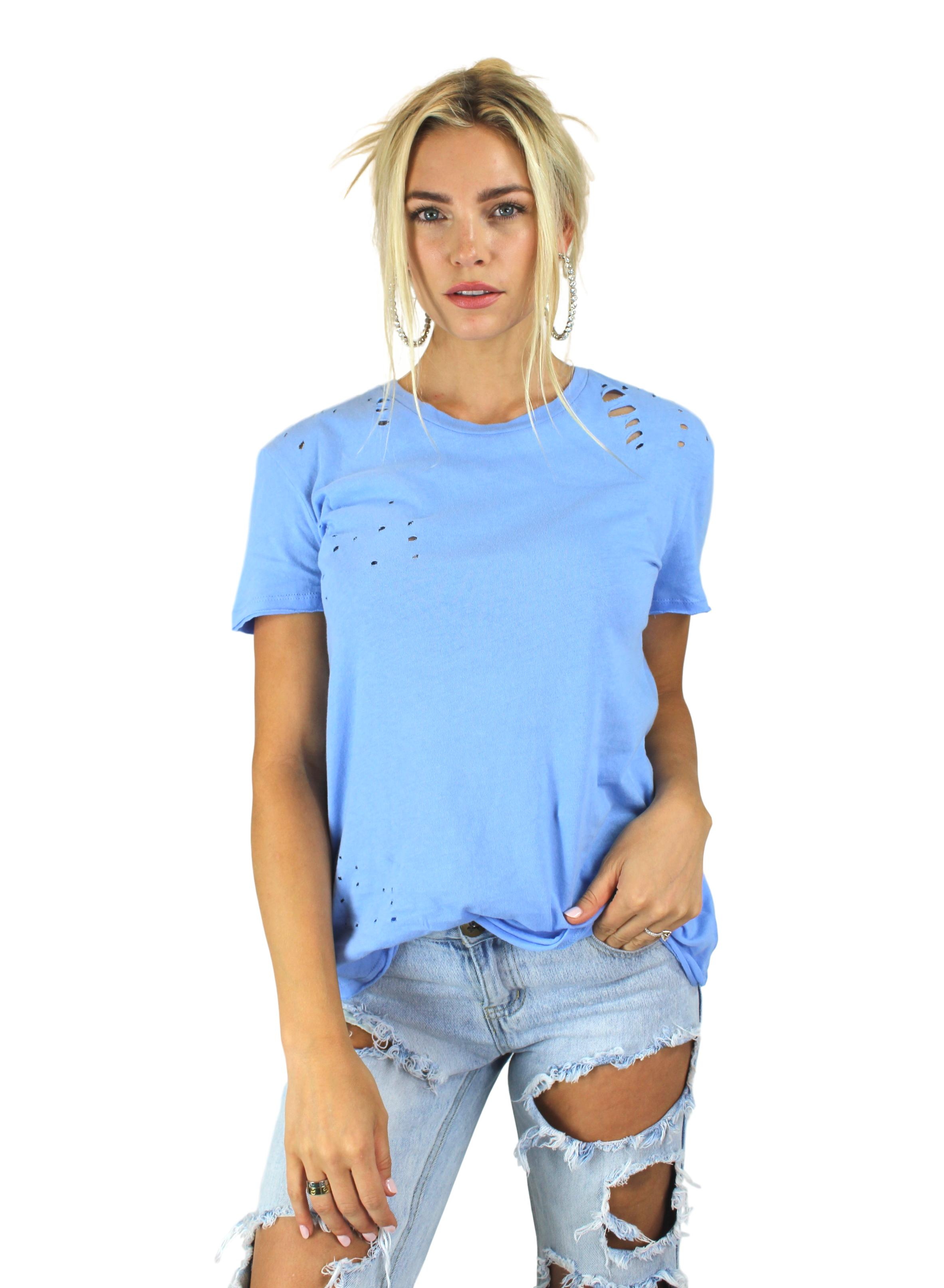 HOLE SOME TEE IN BLUE