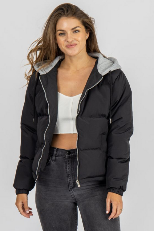 BLACK + GREY HOODED PUFFER JACKET