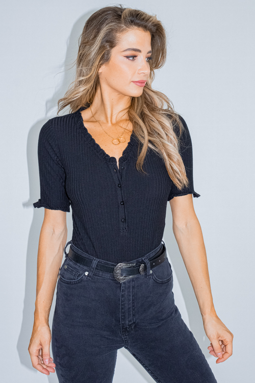 BLACK RUFFLE BUTTON DOWN BODYSUIT