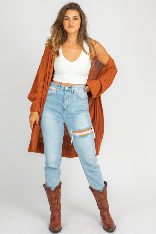 RUST SIDE POCKET CARDIGAN