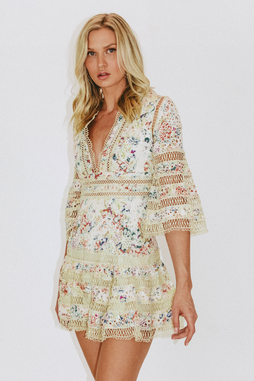 EYELET LACE BELL SLEEVE DRESS