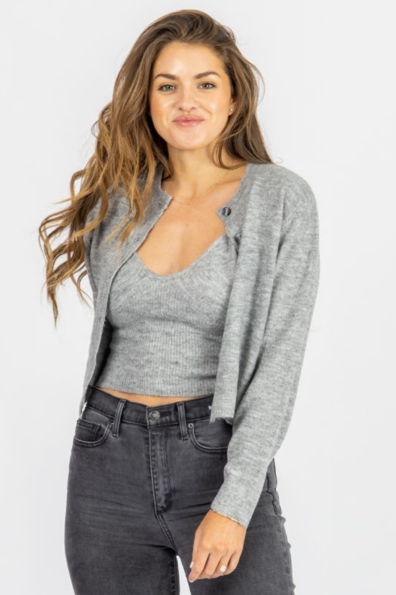 GREY KNIT SWEATER TANK + CARDIGAN