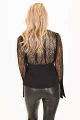 BLACK LACE BUTTON FRONT TOP