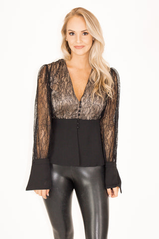 BUCKLE UP BODYSUIT IN BLACK / FINAL CLEARANCE