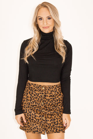 LEOPARD MOCK NECK KNIT DRESS IN IVORY