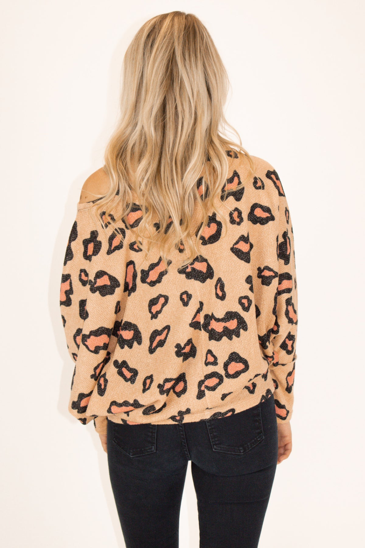 Leopard Off Shoulder Knit Top