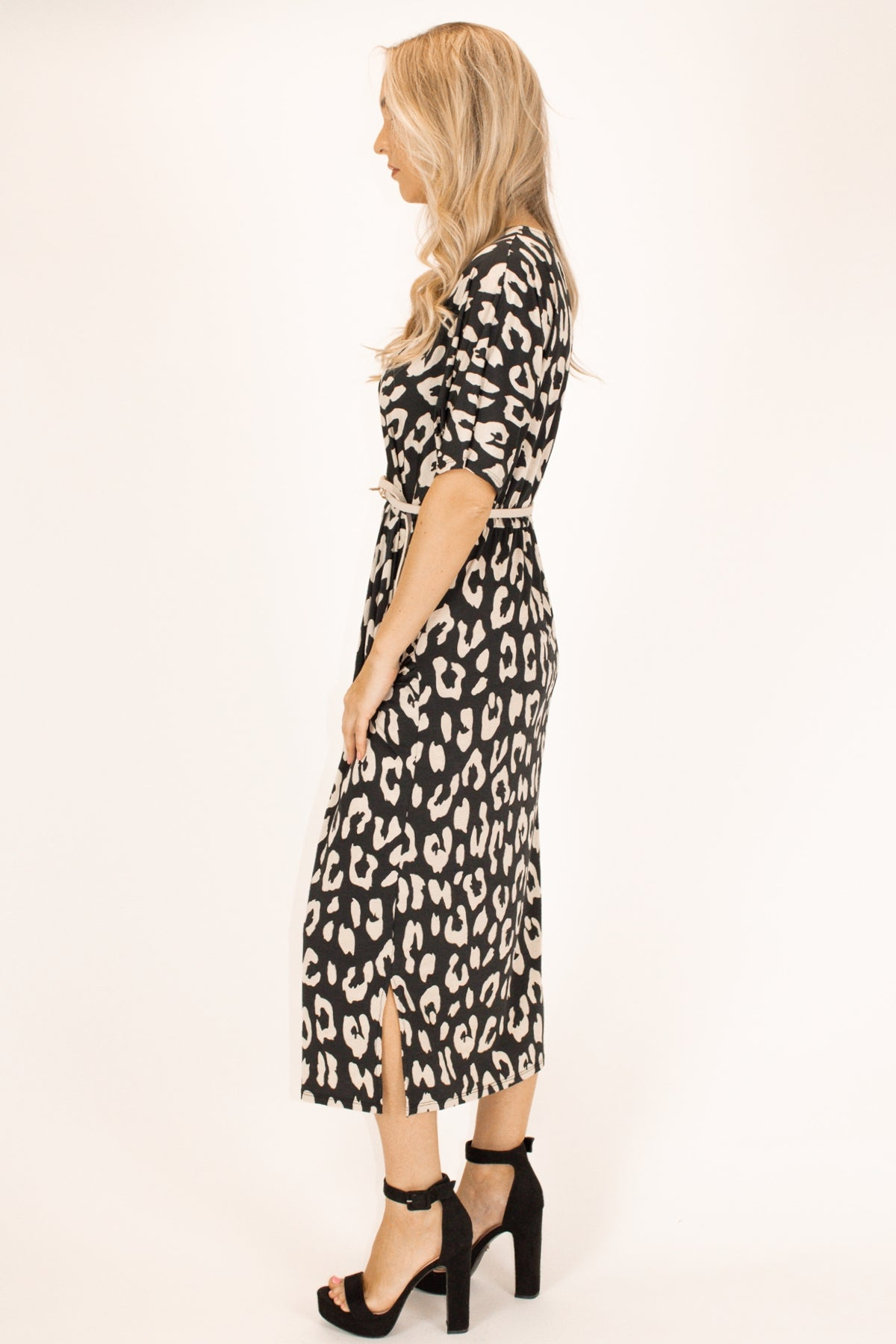 LEOPARD WRAP POCKET DRESS