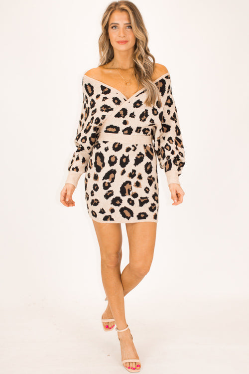 LEOPARD SWEATER MINI DRESS