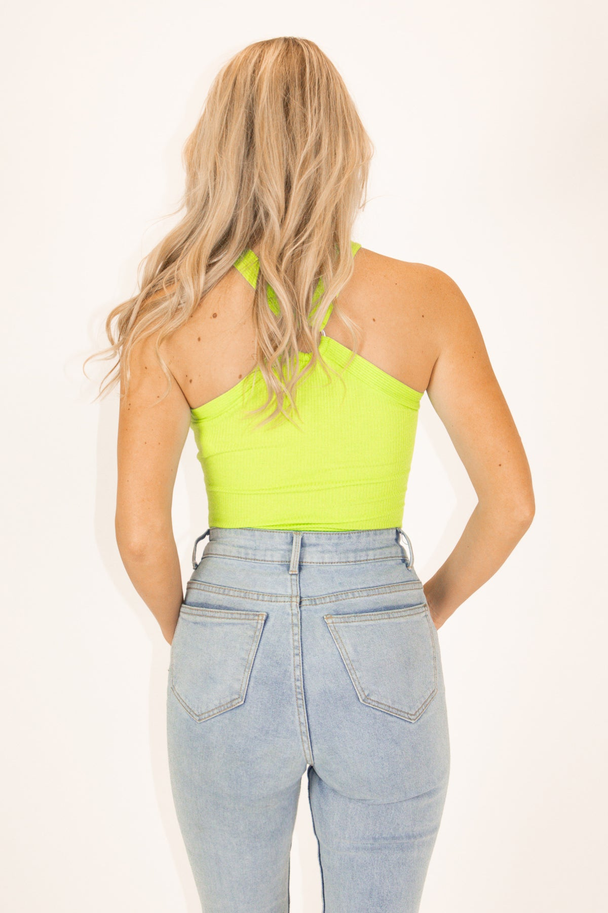NEON GREEN RING HALTER BODYSUIT