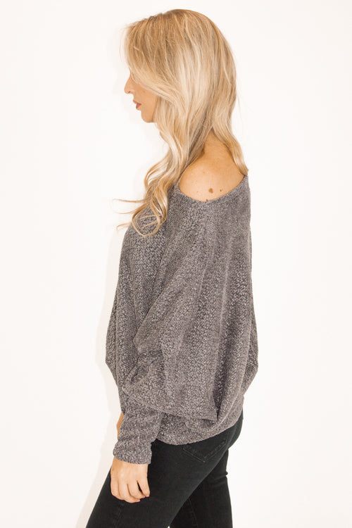 OFF SHOULDER SHIMMER KNIT IN CHARCOAL