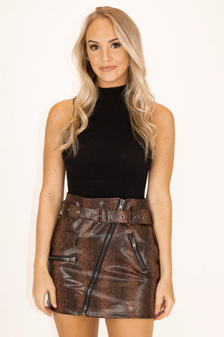 PATENT + PLAID MINI SKIRT