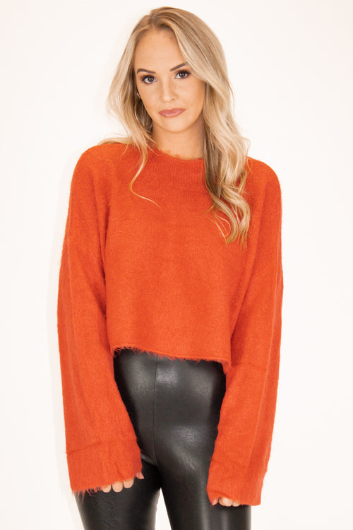 Fuzzy Mock Neck Sweater in Orange