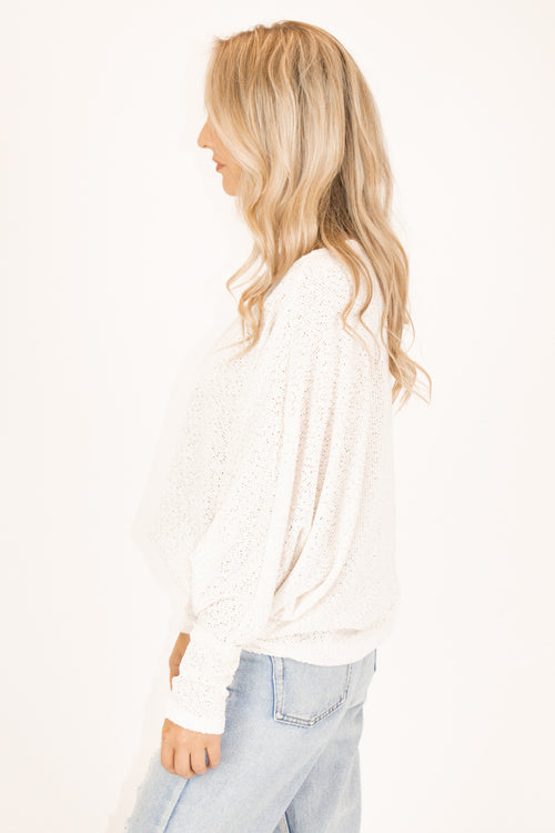 OFF SHOULDER SHIMMER KNIT IN OATMEAL