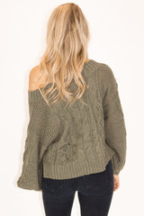 OFF SHOULDER BUBBLE SLEEVE SWEATER IN OLIVE