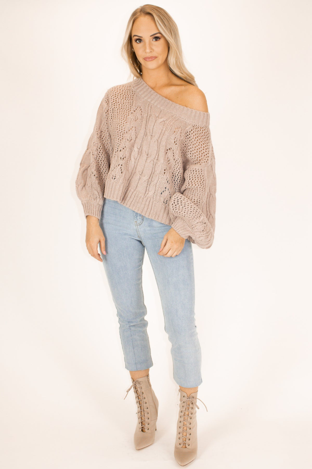 Off Shoulder Bubble Sleeve Top in Mauve