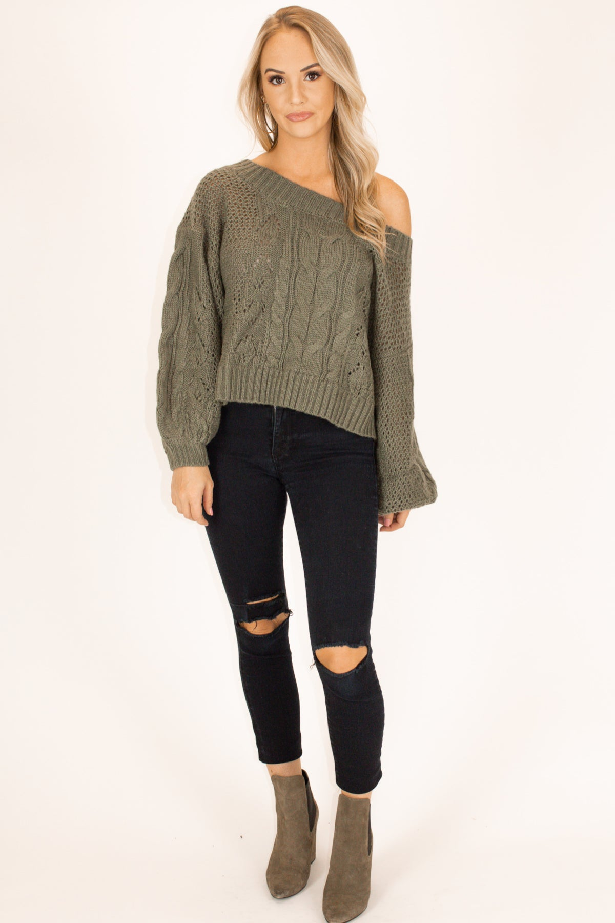 Off Shoulder Bubble Sleeve Top in Olive